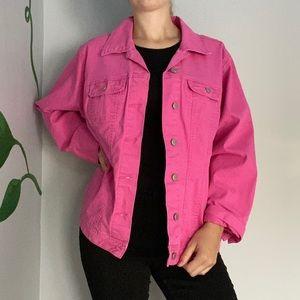 Bright pink denim jacket oversized